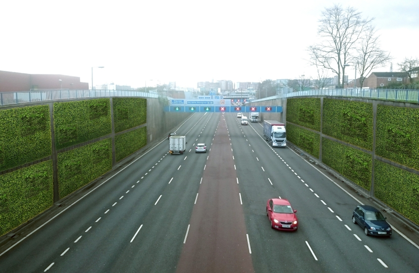 Artist's impression of what living green walls on the Aston Expressway could look like. Living green walls have been proven to remove up to 40% of NOx from the surrounding air