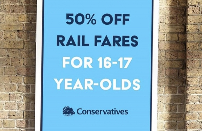 The Conservative Government are introducing a brand new railcard, which will halve all rail fares for 16 and 17-year-olds