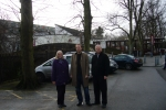 Cllrs Deirdre Alden, Matt Bennett and Fergus Robinson at Cannon Hill Park, Edgba